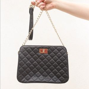 Quilted pleather cross body bag